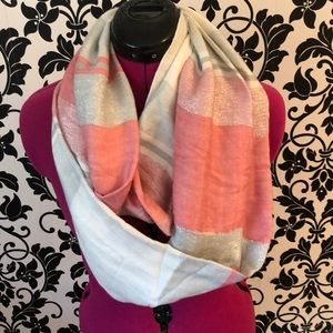 Accessories - Pink and silver metallic infinity scarf